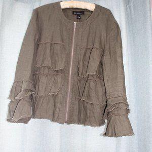 INC Army Green Linen Jacket
